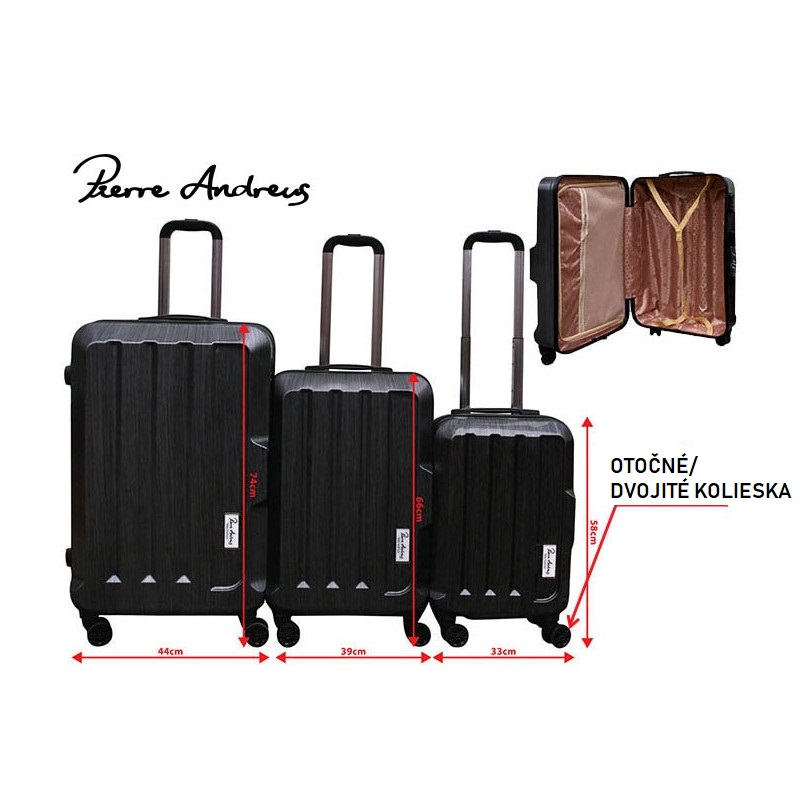 8a283f0832fb Pierre Andreus - 3 dielny set cestovných kufrov ...